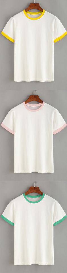 Casual Style - Contrast Trim Plain T-shirt - Pink