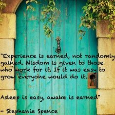 """""""Experience is earned not randomly gained. Wisdom is given to those who work for…"""