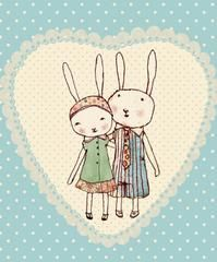 Maileg Bunnies in Love Card