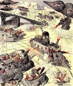 The Century War, from La Caricature, October 1883 by Albert Robida - Reproduction Oil Painting Futurism Art, Retro Futurism, Diesel Punk, Albert Robida, Ghibli, Steampunk Airship, Sci Fi Environment, Warhammer 40k Art, Alternate History