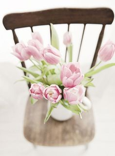 tinywhitedaisies : Pale pink tulips on chair