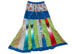 Womens Skirt Blue Multi Color Printed Patchwork Cotton Boho Maxi Skirts #mogulinteriordesigns @ http://www.amazon.com/dp/B00K1XS9CM