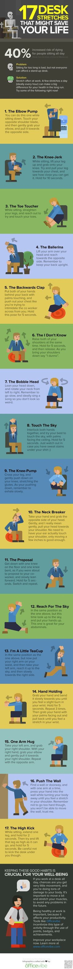 Getting stiff and sore at your office job? Here are some great stretches to do in the office!