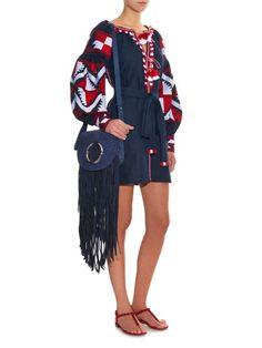 Vita Kin Pyramid embroidered linen dress Folk Fashion, Ethnic Fashion, Womens Fashion, Hippie Chic, Bohemian Style, Folk Style, My Style, Seaside Style, African Dress
