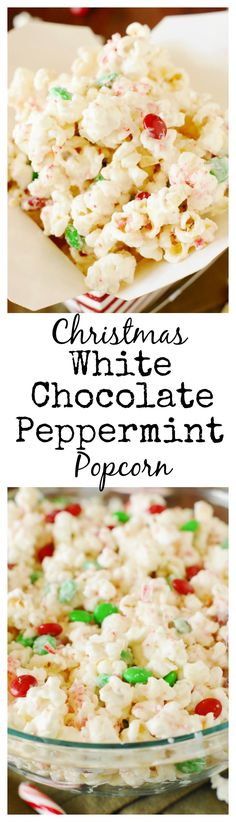 Christmas White Chocolate-Peppermint Popcorn ~ Finely crushed candy canes & white chocolate turn popcorn into a deliciously festive #Christmas treat. #peppermint #popcorn www.thekitchenismyplayground.com