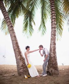 Maria and Thad's pretty yellow and gray wedding in Puerto Rico