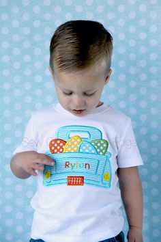 Custom Boys Easter Eggs Retro Truck T-Shirt by SewCloseToTheEdge