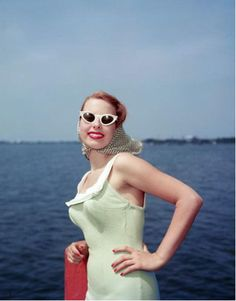Vintage bathing suit and cat eye sunglasses