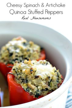 Cheesy Spinach & Artichoke Quinoa Stuffed Peppers | Real Housemoms | This is so good I couldn't stop at one!!!
