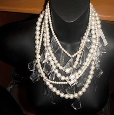 Angela Caputi massive multi fake pearls lucite dangling drops bib necklace italy #angelacaputi #runwaybib