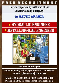 Career Opportunity with one of the Leading Mining Company in Saudi Arabia. FREE RECRUITMENT | FREE RECRUITMENT | FREE RECRUITMENT Please see the image below for all Opening Positions & Job Details. Please send your updated CV at maaden@gheewalajobs.com  Contact Details: +91-8108108946 / +91-022-61666888 / 820 F Gheewala Human Resource Consultants  #FGheewala #FgheewalaJobs #JobRecruitment #JobOpportunities