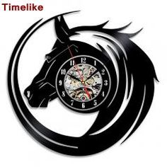 [ 25% OFF ] Hot Cd Vinyl Record Wall Clock Modern Design Animal Dog Cat Horse Wall Watch Classic Clock Relogio Parede