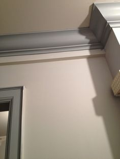 Moldings in Boothbay Gray from Benjamin Moore. The walls are Gray Owl.