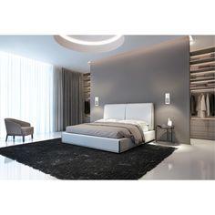 Modern Master Bedroom, Master Bedroom Design, White Bedroom, Dream Bedroom, Modern Luxury Bedroom, Modern Bedrooms, Modern Bedroom Design, Wardrobe Behind Bed, Bedroom Wardrobe