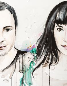 Watercolor Artistic Portraits by Raluca Judet - Couple portrait Couple Portraits, Watercolor And Ink, Unique Jewelry, Handmade Gifts, Artist, Anime, Vintage, Etsy, Kid Craft Gifts