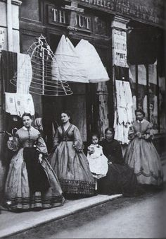 Underneath that Hoop Skirt- The History of Crinoline, the Victorian fashion garment. Victorian Street, Victorian Life, Victorian London, Victorian Fashion, Vintage Fashion, Victorian Facts, Victorian Maid, Victorian History, Victorian Buildings