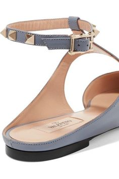 Valentino - The Rockstud Leather Point-toe Flats - Sky blue - IT40.5