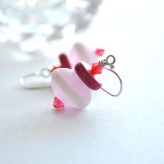 Pink Striped Glass Earrings by bstrung on Etsy