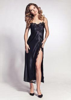 Marjolaine Tentation Nightgown Long in black Luxury Nightwear, Lingerie Sleepwear, Satin Dresses, Strapless Dress Formal, Formal Dresses, Satin Nightie, Dressed To Kill, Lingerie Models, Silk Satin