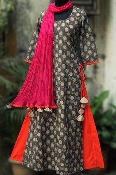 layered long kurta - ashen rose & orange flame