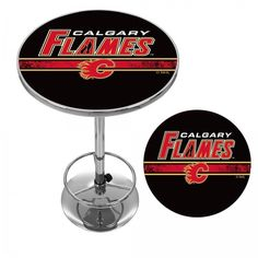 Calgary Flames NHL Chrome Pub Table Officially Licensed Art Adjustable Foot Rest #TrademarkGameroom