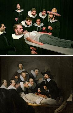 """Two Bored Coworkers Recreate Famous Paintings Using Their Office Supplies http://www.boredpanda.com/fools-do-art-art-recreations-francesco-fragomeni-chris-limbrick/ - """"The Anatomy Lesson of Dr. Nicolaes Tulp"""" by Rembrandt, c.1632 - /Via Louvre Pour Tous"""