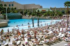 Wave pool and beach at Mandalay Bay in Las Vegas, Nevada.