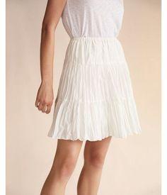 Solid Tiered Cotton Midi Skirt White Women's XX Small