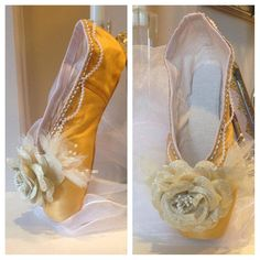 Belle  Disney Inspired Decorated Pointe Shoe  by FantaisieDesigns, $55.00