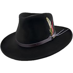 52001352dd8 Lowest Price on Scala DF6 Crushable Wool Felt Outback Hat. Western Hats