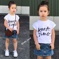 Kids Fashion outfits Instagram converse denim skirt white shirts