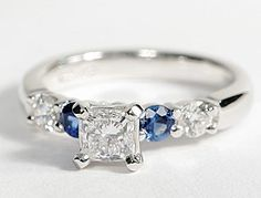 Bella Sapphire and Diamond Engagement Ring in 18k White Gold #BlueNile