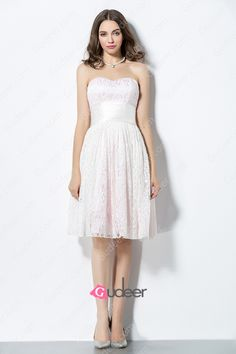 Lovely Pink Strapless Sweetheart Short Lace Bridesmaid Dress