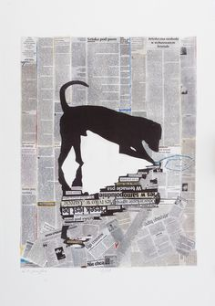 """Goshka Macuga  """"Dog""""  2011  Lithograph  Framed: 41 5∕16 × 29 1∕2 × 1 3∕8 in. (105 × 75 × 3.5 cm)  Courtesy of the artist  Image courtesy of the artist; Andrew Kreps Gallery, New York; Kate MacGarry Gallery, London; and Galerie Rüdiger Schöttle, Munich"""