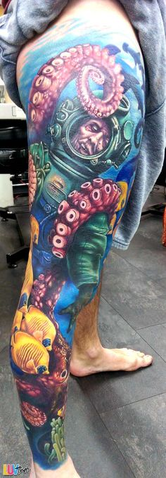 giant octopus and diver tattoo leg