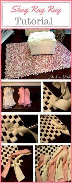 Easy step-by-step DIY shag rag rug tutorial.