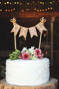 Girl Cake Topper, Girl Banner, Girl Sign, Girl Baby Shower Cake Topper, Its A Girl, Rustic Baby Shower, Baby Shower Decor, Girl Announcement