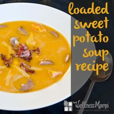 This healthy and grain free sweet potato soup recipe is hearty and nutritious with sweet potato, winter squash, onions, broth and meat.