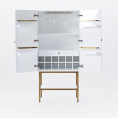 Downing Bar Cabinet - White/Antique Brass | west elm