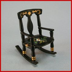 "Renwal Doll House Miniature Cross & Blackwell #65 Rocking Chair 1955 3/4"" Scale Dollhouse Furniture"
