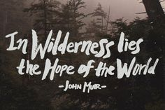 In wilderness lies the hope of the world. – John Muir thedailyquotes.com