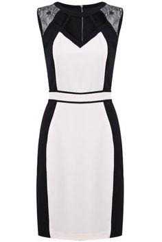 Black White Sleeveless Contrast Lace Bodycon Dress