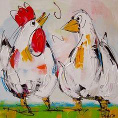Modern hand geschilderde witte kip en gans op een groene ondergrond tegen een licht gekleurde achtergrond. Altijd een vrolijk aanzicht, wanneer deze twee maatjes uw wand opfleuren.