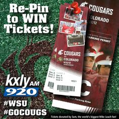 Re-Pin this official #GoCougs #WSU image to win the grand prize: 2 Tickets to Cougars Home Game on Saturday, Sept. 22nd plus parking passes. Grand Prize winner announced during KXLY 920 Morning News on Friday Sept 21st. Please feel free to re-pin this numerous times. Good Luck.    Click on this official Pin To Win Image for Contest Rules or check out this link:    http://kxly-am.tritondigitalmedia.com/page/Pin_Rules/151