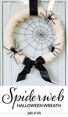 Try this easy-to-make, black and white Spiderweb Halloween Wreath with Spiders. You only need a few materials and about an hour to complete the project.
