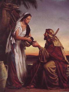 Rebekah serving Isaac