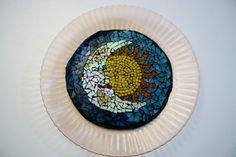 Moon and Sun Stained Glass Mosaic Plate  10 by earthmothermosaics