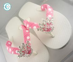 Princess Crown Flip Flops Bling Rhinestone Buckle Girls Boutique Ribbon Flip Flops.