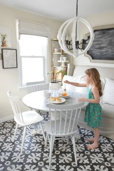 Spring Home Decor Ideas- Spring Home Kitchen Ideas--upholstered bench seating and white table