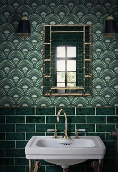 Green metro tiles with Art Deco style green wall… Glamorous bathroom inspiration. Green metro tiles with Art Deco style green wallpaper. Bathroom Inspiration, Interior Inspiration, Interior Ideas, Interior Styling, Design Inspiration, Glamorous Bathroom, Beautiful Bathrooms, Mad About The House, Bathroom Tile Designs